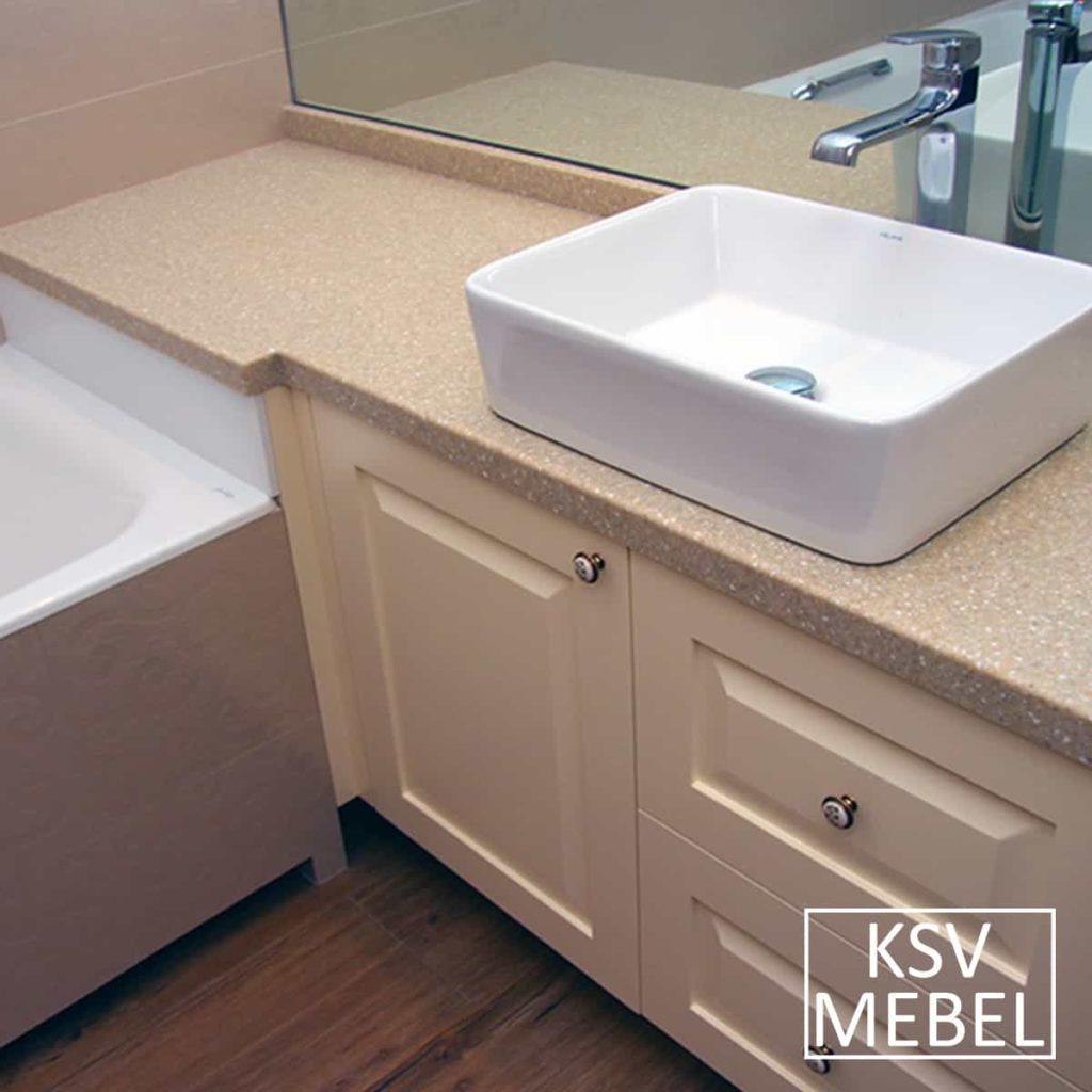 Мебель для ванной с фрезеровкой вид сбоку
