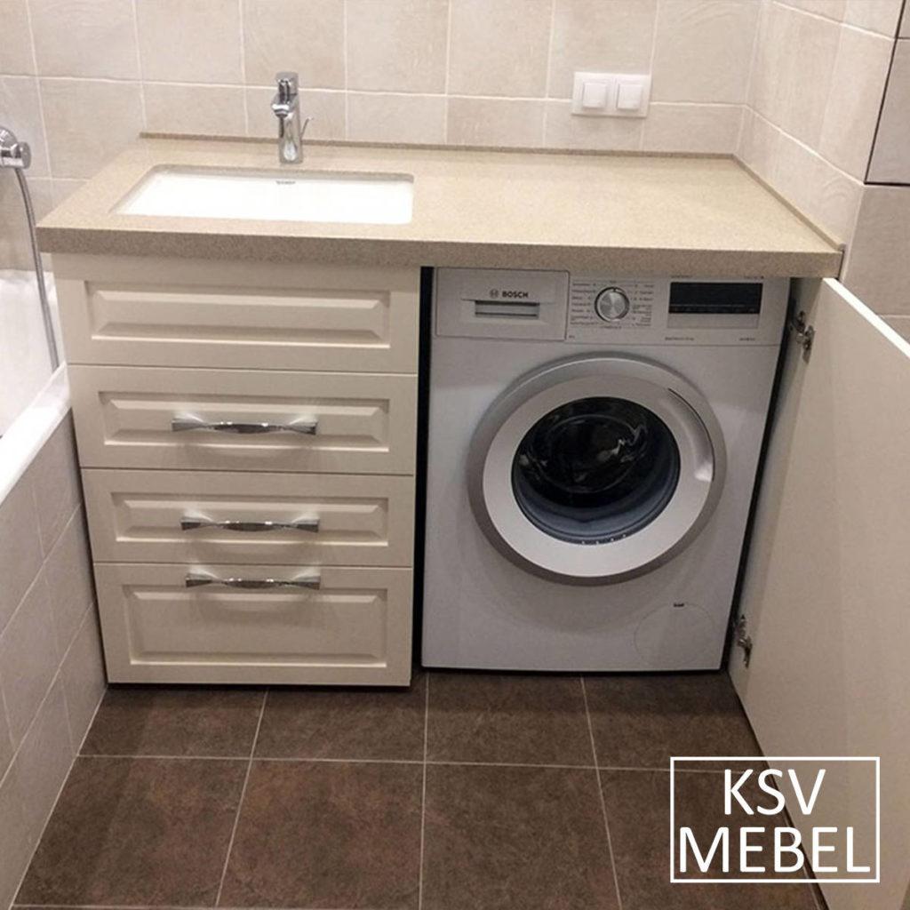 Мебель под стиральную машинку с открытой дверкой