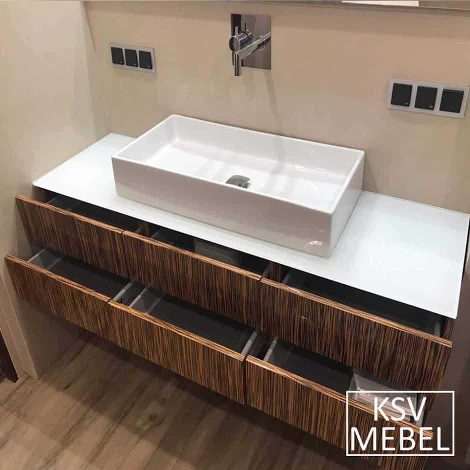 Мебель для ванной на 160 см с открытыми ящиками